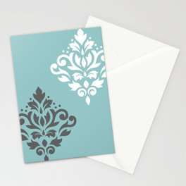 Scroll Damask Art I Gray White Teal Stationery Cards