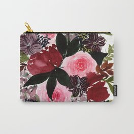 Burgundy Rose Flower Bouquet Watercolor Painting - Purple Palette Carry-All Pouch