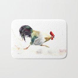 Symbol of 2017 Year, watercolor rooster, cock, cockerel Bath Mat
