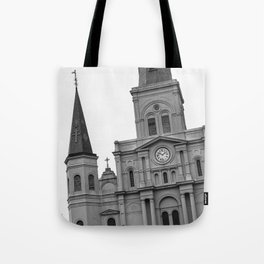 St. Louis Cathedral in Black and White Tote Bag