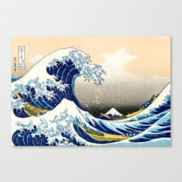 The Great Wave off Kanagawa by Hokusai Blue White Waves Crashing in the Sea Canvas Print