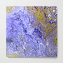 Purple Waves, pouring abstract acrylic Metal Print