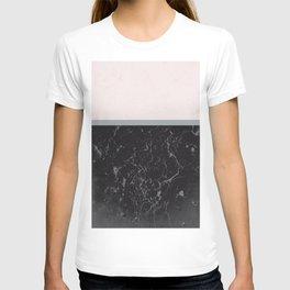 Grey Black Marble Meets Romantic Pink #1 #decor #art #society6 T-shirt
