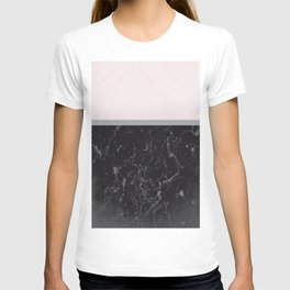 Grey Black Marble Meets Romantic Pink #1 #decor #art #society6 T-shirt