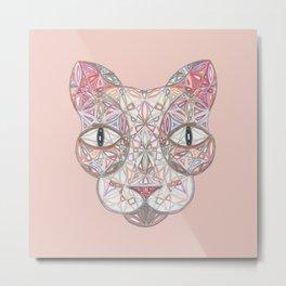 Sacred Geometry Sphynx Cat Mandala Metal Print