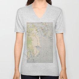 Vintage Map of Roanoke Island & Outer Banks NC Unisex V-Neck