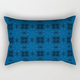 Lapis Blue Floral Geometric Rectangular Pillow