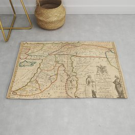 Vintage Map Print - Map of the Middle East: Turkey, Syria, Iraq, Israel etc. (1712) Rug