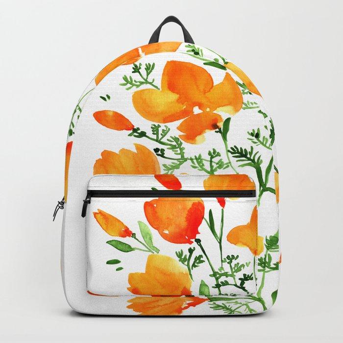 Watercolor California poppies Rucksack