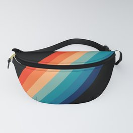 Retro 70s Stripe Colorful Rainbow Black Fanny Pack