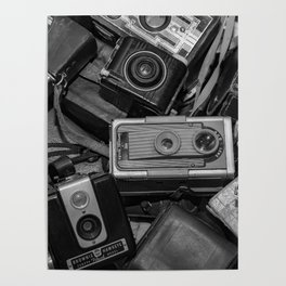 A Mess Of Old Cameras BW Poster