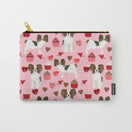 Papillon valentines day dog pattern cute gifts for dog lover unique dog breeds accessories Carry-All Pouch