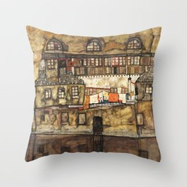Egon Schiele - House Wall on the River, 1915 Throw Pillow