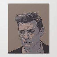 johnny cash Canvas Prints featuring Johnny Cash by MikeOB