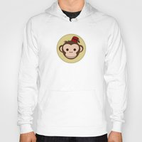 fez Hoodies featuring Monkey with Fez by JaggedGenius