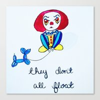 pennywise Canvas Prints featuring Pessimistic Pennywise by Ashley Petersen