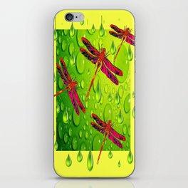 Red Dragonflies Flying in Lemon Citrus Rain iPhone Skin