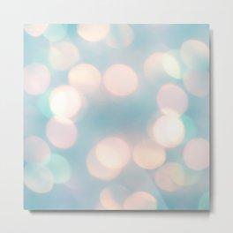 Cotton Candy Pink Baby Powder Blue Bokeh Lighting Abstract Pattern Metal Print
