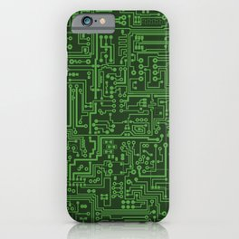 Circuit Board // Light on Dark Green iPhone Case