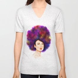 Beautiful woman with starry hair Unisex V-Neck