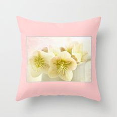 Hellebores in blue jug Throw Pillow