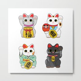 Lucky Cat / Maneki Neko Metal Print
