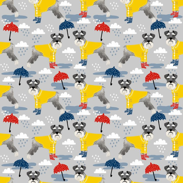 Schnauzer spring raincoat cute pattern for dog lover with schnauzers Duvet Cover