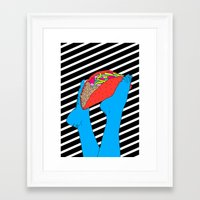 taco Framed Art Prints featuring Taco Time by Tyler Spangler