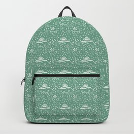 Abstract Doodle on Green Backpack