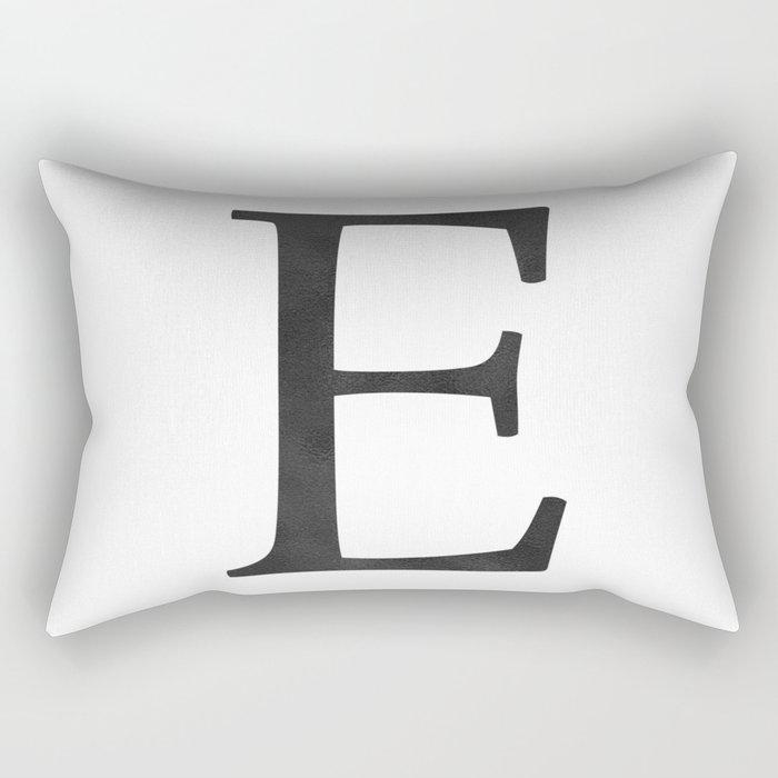 Letter E Initial Monogram Black and White Rectangular Pillow