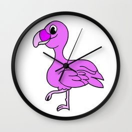 Drawn by hand a pink flamingo bird Wall Clock