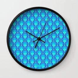Peacock Blue Floral Repeat Wall Clock