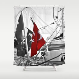 Flag of Turkey - Selective Coloring Shower Curtain