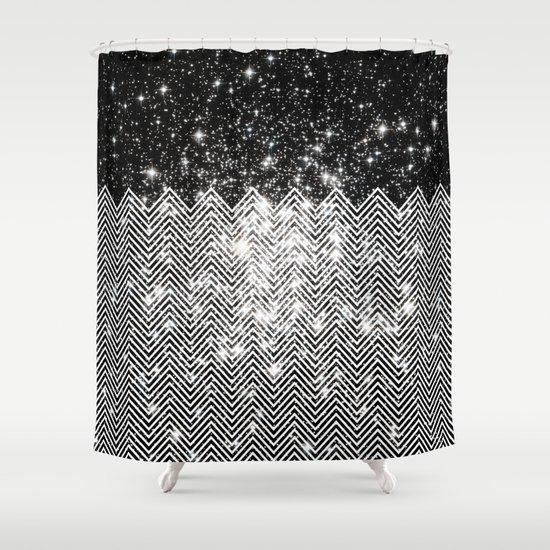 Chevron Universe Shower Curtain