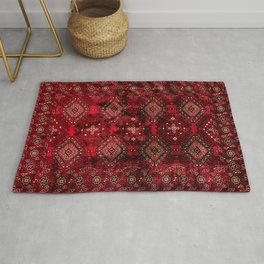 N129 - Epic Royal Red Oriental Traditional Moroccan Style Fabric Design  Rug