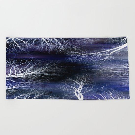 Abstract Midnight Trees Beach Towel