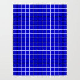 Medium blue - blue color - White Lines Grid Pattern Poster