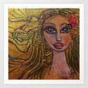 Golden Dawn Big Eyed Girl Female Portrait Painting by Garden Of Delights by artgallery