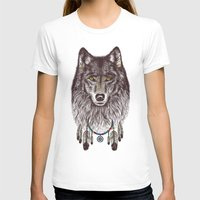 pen T-shirts featuring Wind Catcher Wolf by Rachel Caldwell