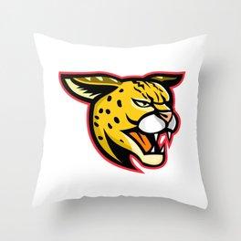 Serval Wild Cat Mascot Throw Pillow