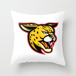 Serval Wild Cat Mascot Throw Pillow