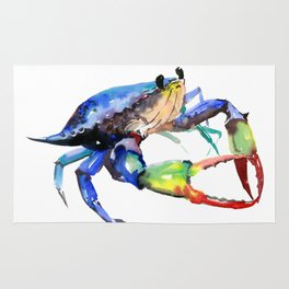 Crab, Sea World Rainbow Colors Beach Rug