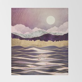 Lunar Waves Throw Blanket