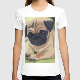 Cute pug on green sofa T-shirt