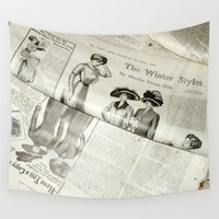 newspaper Wall Tapestries featuring Old Vintage Newspaper Left to the Elements...Winter Styles by Andrea Jean Clausen - andreajeanco