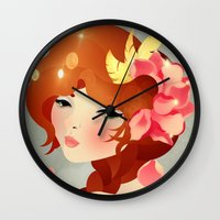 lily Wall Clocks featuring Lily by Jenny Lloyd Illustration