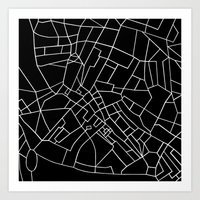 London Road Blocks Black Art Print