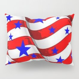 RED PATRIOTIC JULY 4TH BLUE STARS AMERICANA ART Pillow Sham