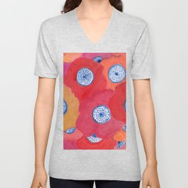 Hippy flowers watercolor Unisex V-Neck
