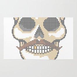 Handlebar Mustache Biker Skull - Cross Stitch Color Coded Chart Rug